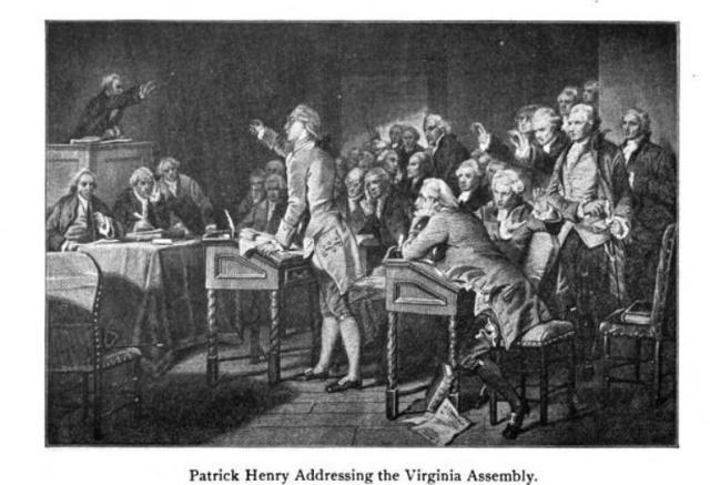 Patrick Henry addressing the Virginia Assembly with 5 resolutions Stamp Act