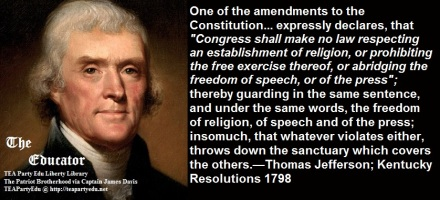 Thomas Jefferson Quote Regarding the 1st Amendment and Religious Liberty