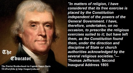 Thomas Jefferson Quote regarding leaving religion to the states & not the federal government