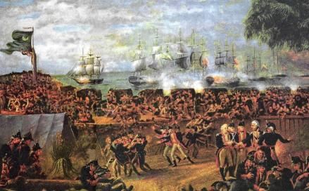 Americans holding off the attack of 10 British ships at Sullivans Island - 1776
