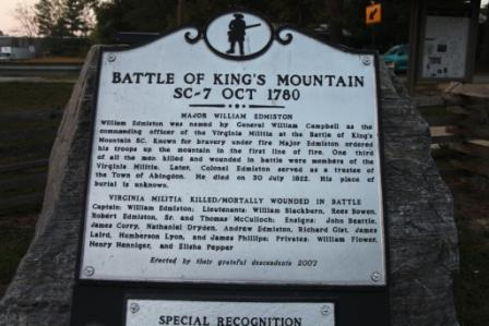 battle of kings mountain Kings mountain park remembers the battle victory of the revolutionary war-the first major american victory following the british invasion at charleston.
