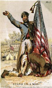 Card depicting freed slave with Union soldier
