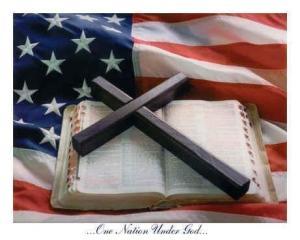 US flag and bible cross