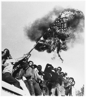 Iranian protesters burn American flag during Iranian hostage crisis