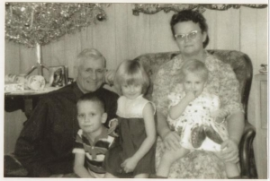 Grandma, Grandpa, Gary (youngest son), Cindy and Christy (grand-daughters)
