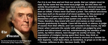 Thomas Jefferson Concerning those who Misinterpreted his Religious views (Click to enlarge)