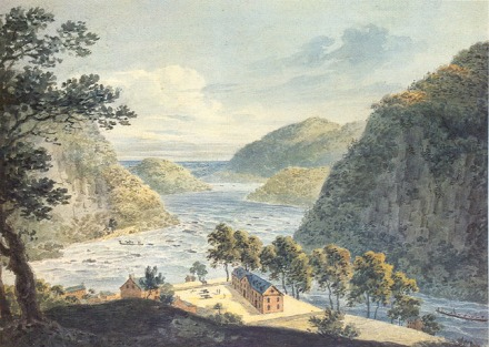 "William Roberts painted this watercolor image of the Harpers Ferry landscape entitled ""Junction of the Potomac and Shenandoah, Virginia."""