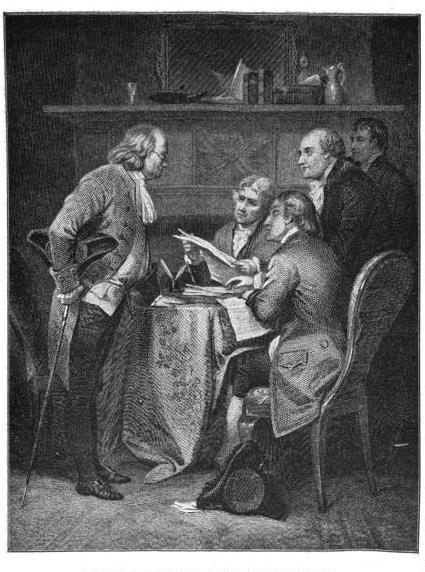 Drafting the Declaration of Independence. The Committee—Franklin, Jefferson, Adams, Livingston and Sherman