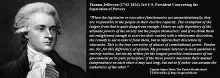 Thomas Jefferson concerning Separation of Powers