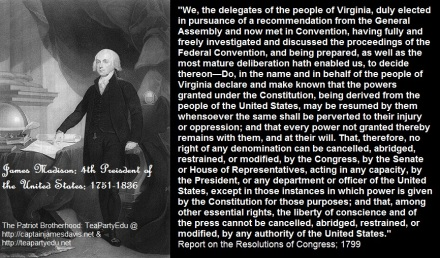 James Madison Concerning Rights of Conscience or Religious Liberty