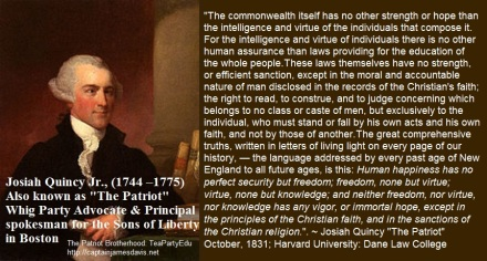 """Josiah Quincy Jr. """"The Patriot"""" Concerning Human Happiness & Freedom"""
