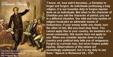 Patrick Henry regarding Our Patriotic Duty as Christians (Click to enlarge)