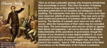 Patrick Henry quote Transparency in Government