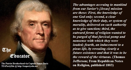 Thomas Jefferson Regarding the Advantages of Jesus (Click to enlarge)