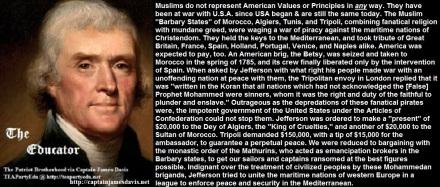 Jefferson, Evil Muslims & the Koran: 1785 (Click to enlarge)