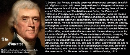 Thomas Jefferson Concerning Morality & Religion (Click to enlarge)