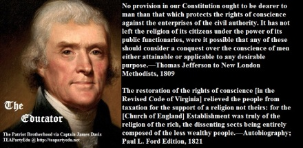 Jefferson Regarding Religious Liberty (Click to enlarge)