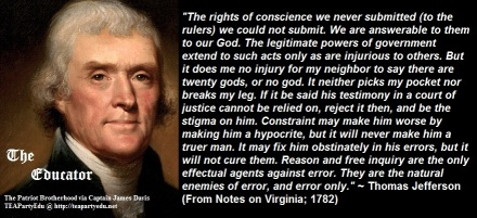 Thomas Jefferson Concerning the Rights of Conscience (Click to enlarge)