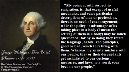 George Washington Quote Concerning Immigration and Immigrants