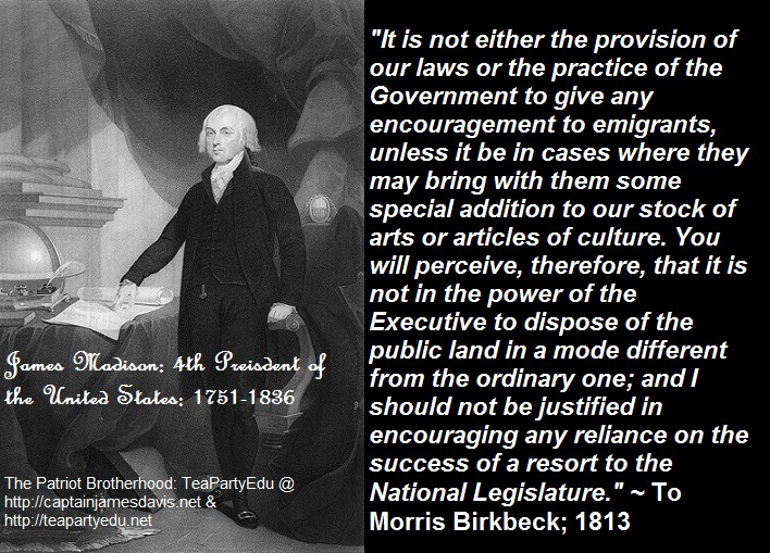 James Madison Quotes Beauteous JAMES MADISON CONCERNING IMMIGRATION AND IMMIGRANTS TO USA