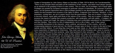 John Quincy Adams Quote Concerning Immigration to America