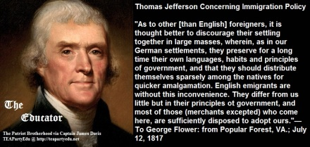 Thomas Jefferson Quotes Concerning Immigration Policy