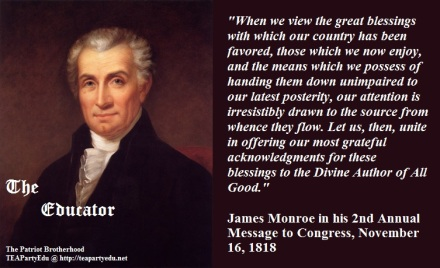 James Monroe quote concerning the blessings of God.