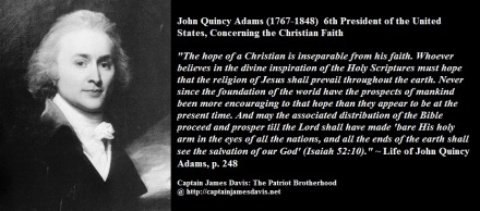 John Quincy Adams quotes regarding the Christian Faith