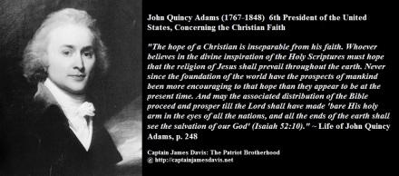 John Quincy Adams quotes regarding the Christian Faith