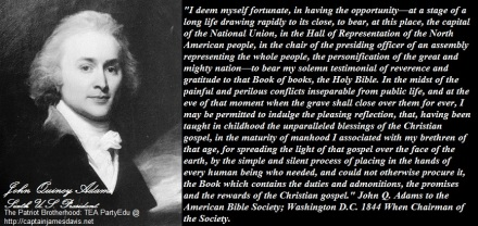John Quincy Adams quotes regarding the Gospels of Christ