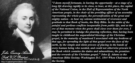John Quincy Adams quotes regarding the Gospels of Christ
