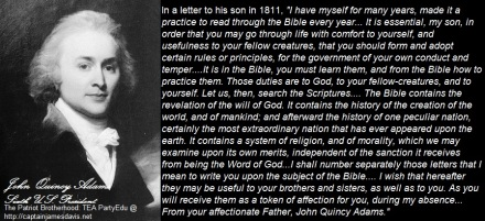 John Quincy Adams quotes in regards to reading the Holy Bible