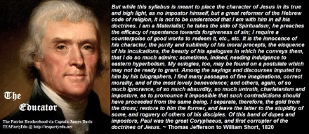 Thomas Jefferson quotes regarding the character of Jesus Christ