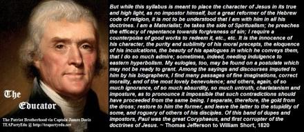 Thomas Jefferson quotes regarding the character of Jesus Christ