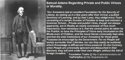Samuel Adams quote Regarding Private & Public Virtue