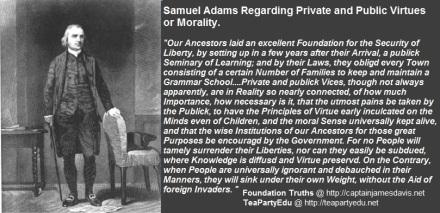 Samuel Adams quote Regarding Private & Public Virtue