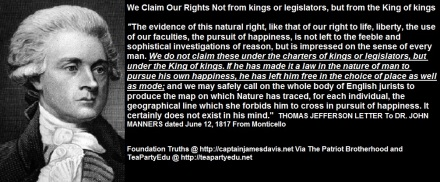 Thomas Jefferson quote We Claim Our Rights Not from kings or legislators but from the King of kings